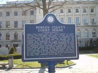 Bergen County Court House Marker image. Click for full size.