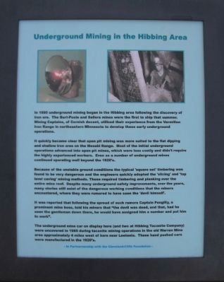 Underground Mining in the Hibbing Area Marker image. Click for full size.