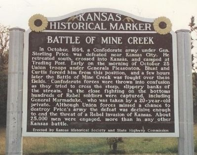 Battle of Mine Creek Marker. image. Click for full size.