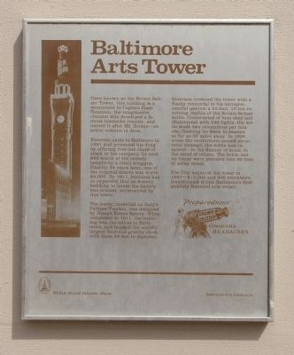 Baltimore Arts Tower Marker image. Click for full size.