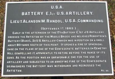 Battery E, 1st U.S. Artillery Tablet image. Click for full size.