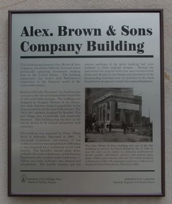 Alex. Brown & Sons Company Building Marker image. Click for full size.