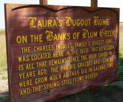 Laura's Dugout Home on the Banks of Plum Creek Marker image. Click for full size.