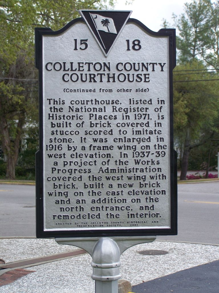 Colleton County Courthouse Marker, Side 2
