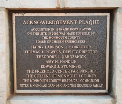 Acknowledgement Plaque (rear of pedestal) image. Click for full size.