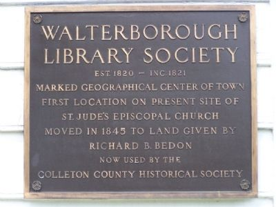Walterborough Library Society Marker image. Click for full size.