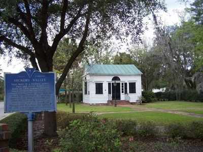 Walterborough Library Society Marker, with Hickory Valley Marker in foreground image. Click for full size.