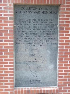 Colleton County Veterans War Memorial Marker image. Click for full size.