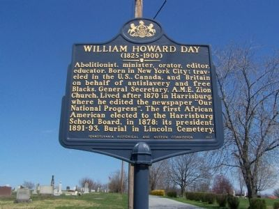 William Howard Day Marker image. Click for full size.