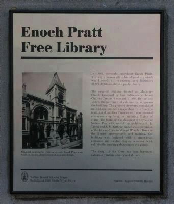 New Enoch Pratt Free Library Marker image. Click for full size.