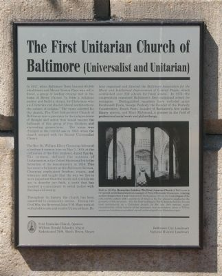 The First Unitarian Church of Baltimore Marker image. Click for full size.