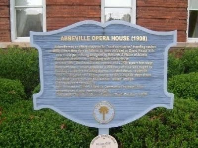 Abbeville Opera House (1908) Marker image. Click for full size.