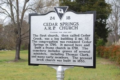 Cedar Springs A.R.P. Church Marker - Reverse image. Click for full size.