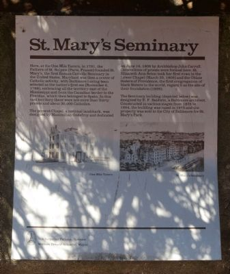 St. Mary's Seminary Marker image. Click for full size.