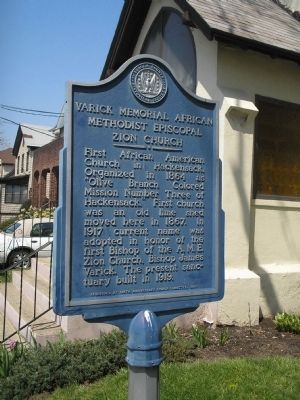 Varick Memorial African Methodist Episcopal Zion Church Marker image. Click for full size.