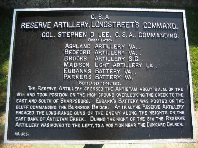 Longstreet's Reserve Artillery Tablet image. Click for full size.