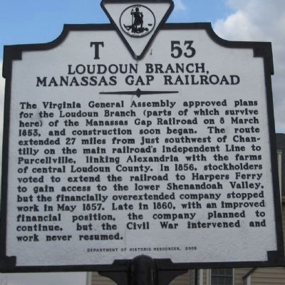 Loudoun Branch, Manassas Gap Railroad Marker image. Click for full size.