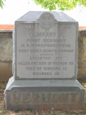 Company F, 1st U.S. Sharpshooters Monument image. Click for full size.