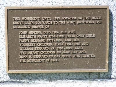 This monument, until 1983 located on the Belle Grove Lawn Marker image. Click for full size.