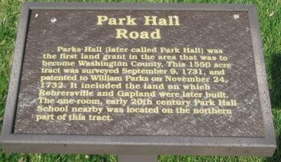 Park Hall Road Marker image. Click for full size.