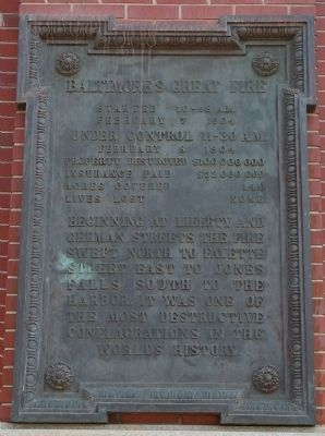 Baltimore's Great Fire Marker image. Click for full size.