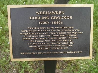 Weehawken Dueling Grounds image. Click for full size.