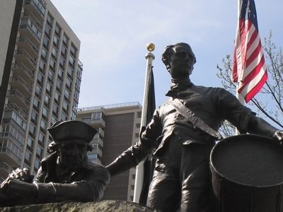 Closeup of Soldiers of the American Revolution Statue image. Click for full size.