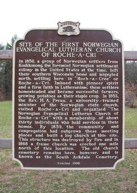 Site of the First Norwegian Evangelical Lutheran Church of Roche-a-Cri Marker image. Click for full size.