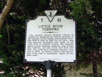 Little River Turnpike Marker image. Click for full size.