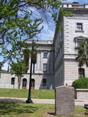 Here Stood The State House Marker, rear view, with present day State House, Columbia, S.C. image. Click for full size.