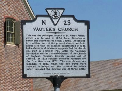 Vauter's Church Marker image. Click for full size.
