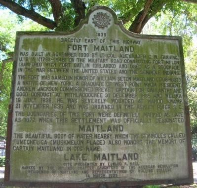 Fort Maitland / Maitland / Lake Maitland Marker image. Click for full size.