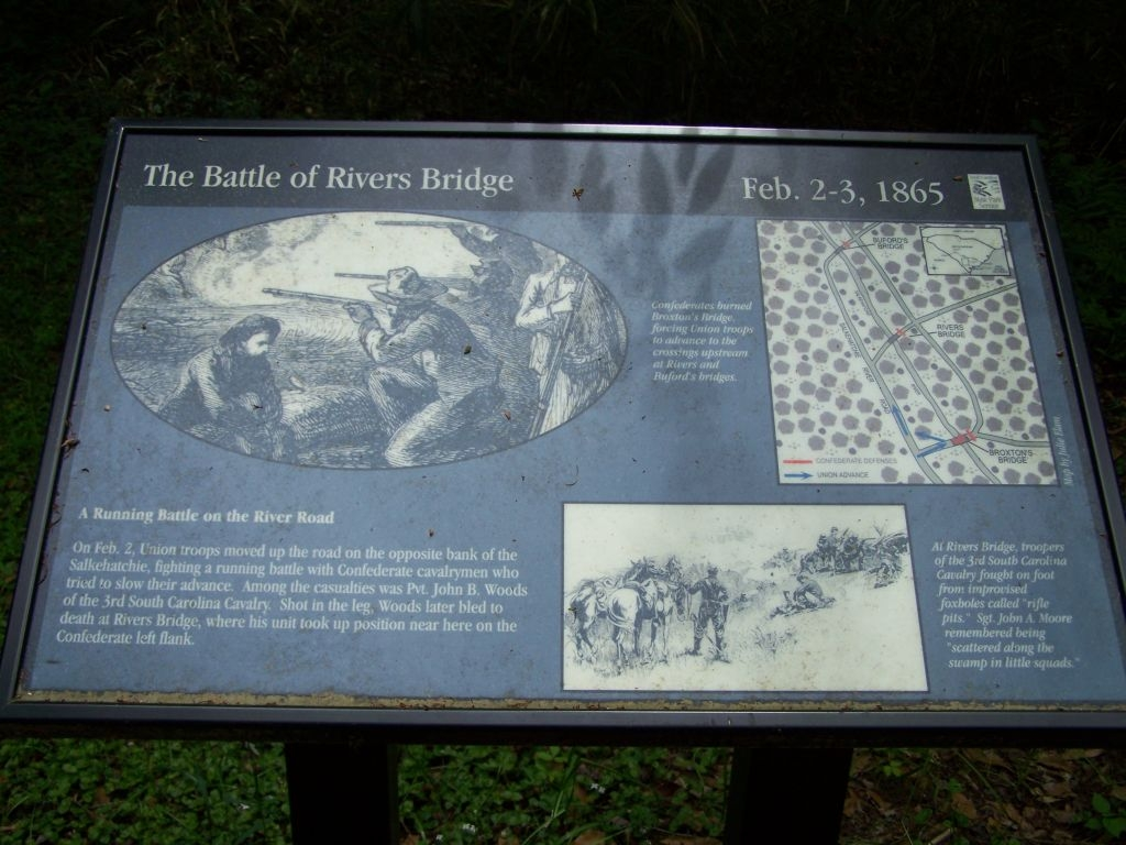 A Running Battle on the River Road Marker