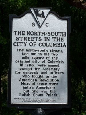 The North-South Streets in The City Of Columbia Marker image. Click for full size.