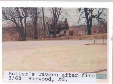 Butler's (earlier Rawlings') Tavern after a 1968 fire image. Click for more information.