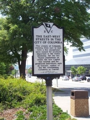 The East~West Streets In The City Of Columbia Marker image. Click for full size.