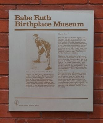 Babe Ruth Birthplace Museum Marker image. Click for full size.