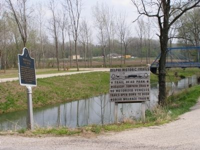 Marker and the Wabash & Erie Canal image. Click for full size.