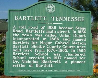 Bartlett, Tennessee Marker image. Click for full size.