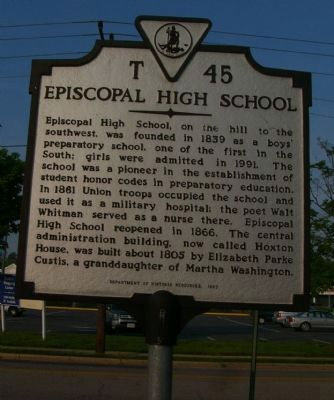 Episcopal High School Marker image. Click for full size.