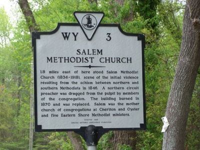 Salem Methodist Church Marker image. Click for full size.