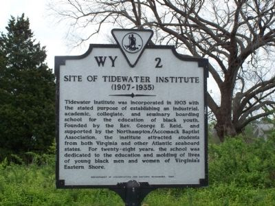 Site of Tidewater Institute Marker image. Click for full size.