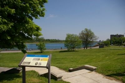 View from the marker to the Druid Hill Reservoir image. Click for full size.