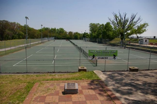 The Druid Hill Park tennis courts, with the marker in the foreground image. Click for full size.