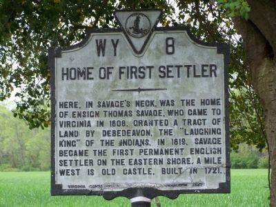 Home of First Settler Marker image. Click for full size.