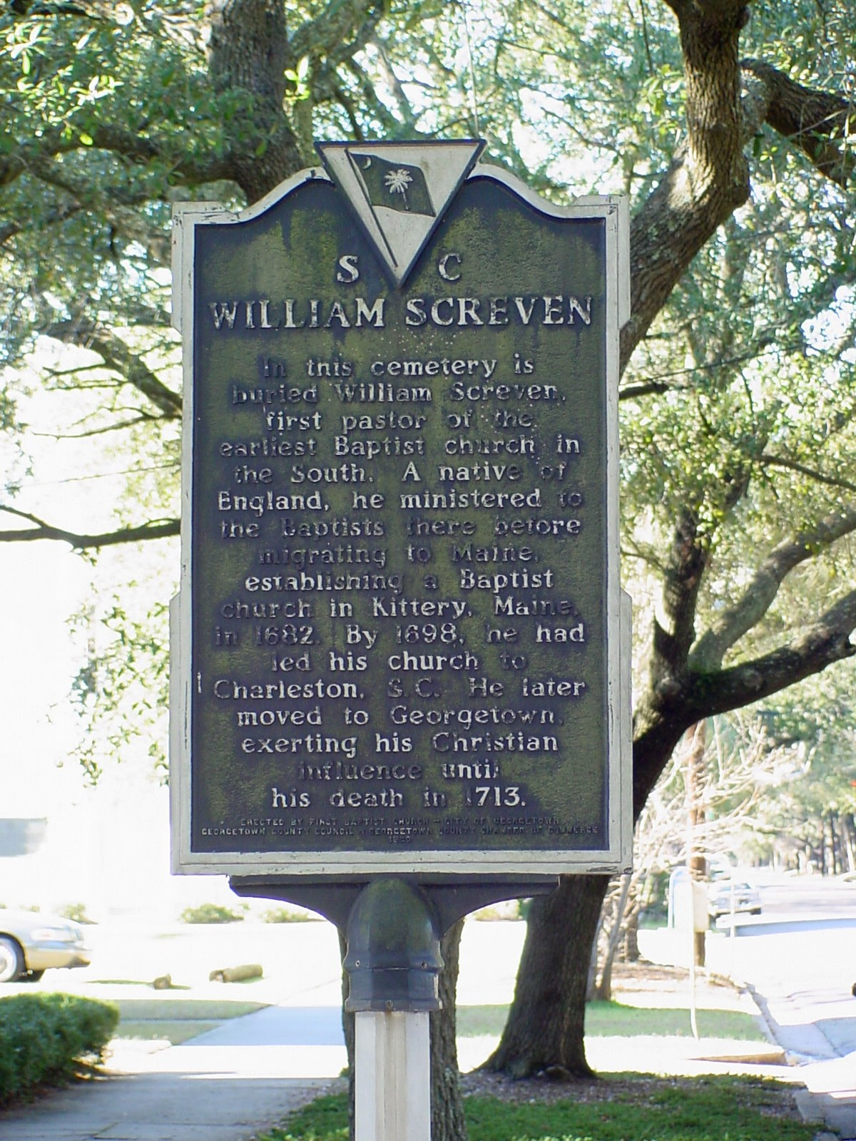 William Screven Side of Marker