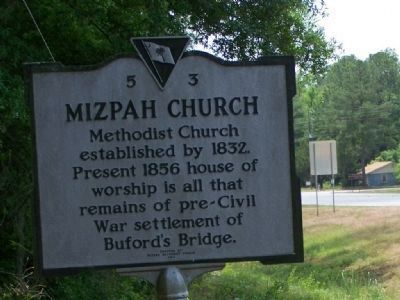 Mizpah Church Marker, in the backround is the marker that signifies site of one time Bufords Bridge image. Click for full size.
