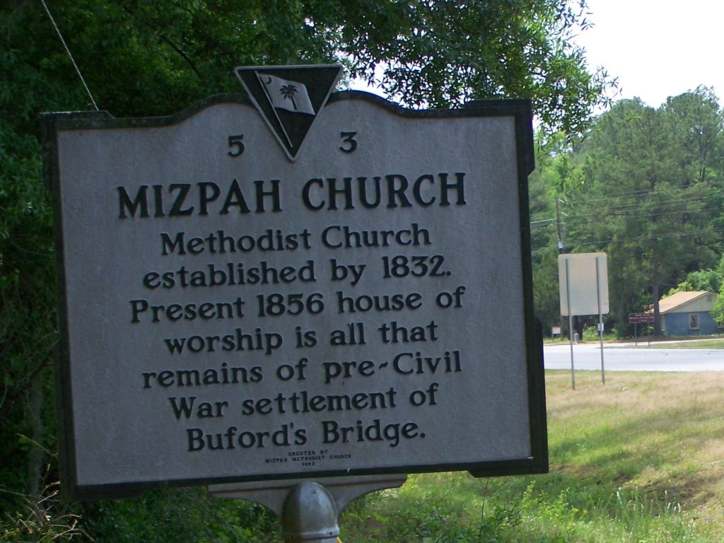 Mizpah Church Marker, in the backround is the marker that signifies site of one time Bufords Bridge