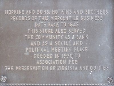 Hopkins and Sons; Hopkinns and Brothers Marker image. Click for full size.