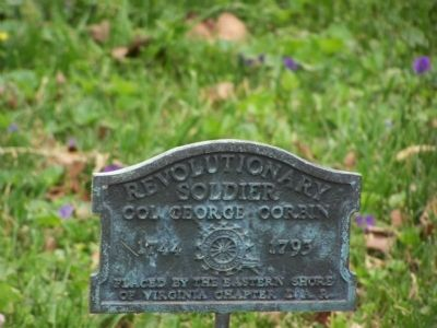 D.A.R. marker for Col. George Corbin image. Click for full size.